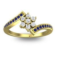 Simple Floral Pave Utpala Diamond Ring with Blue Sapphire in 14k Yellow Gold