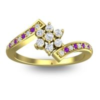 Simple Floral Pave Utpala Diamond Ring with Amethyst in 14k Yellow Gold