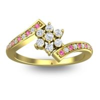Simple Floral Pave Utpala Diamond Ring with Pink Tourmaline in 18k Yellow Gold
