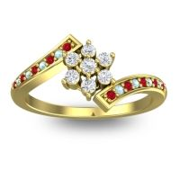 Simple Floral Pave Utpala Diamond Ring with Ruby and Aquamarine in 18k Yellow Gold