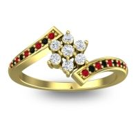 Simple Floral Pave Utpala Diamond Ring with Ruby and Black Onyx in 18k Yellow Gold