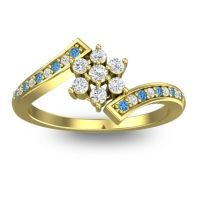 Simple Floral Pave Utpala Diamond Ring with Swiss Blue Topaz in 18k Yellow Gold