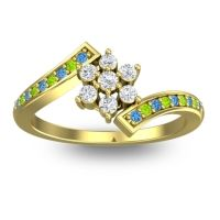 Simple Floral Pave Utpala Diamond Ring with Swiss Blue Topaz and Peridot in 14k Yellow Gold