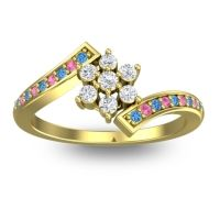 Simple Floral Pave Utpala Diamond Ring with Swiss Blue Topaz and Pink Tourmaline in 14k Yellow Gold