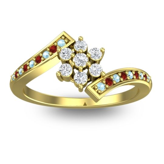 Diamond Simple Floral Pave Utpala Ring with Aquamarine and Garnet in 14k Yellow Gold