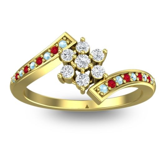 Diamond Simple Floral Pave Utpala Ring with Aquamarine and Ruby in 14k Yellow Gold