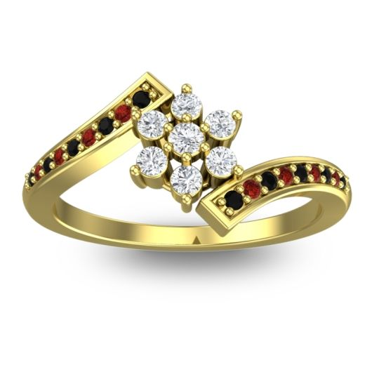 Diamond Simple Floral Pave Utpala Ring with Black Onyx and Garnet in 18k Yellow Gold