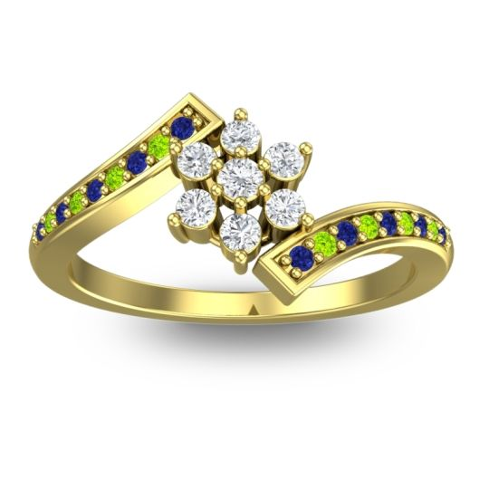 Diamond Simple Floral Pave Utpala Ring with Blue Sapphire and Peridot in 14k Yellow Gold