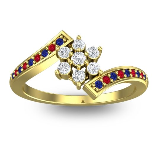Diamond Simple Floral Pave Utpala Ring with Blue Sapphire and Ruby in 18k Yellow Gold