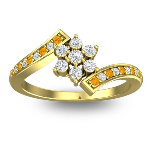 Simple Floral Pave Utpala Diamond Ring with Citrine in 14k Yellow Gold