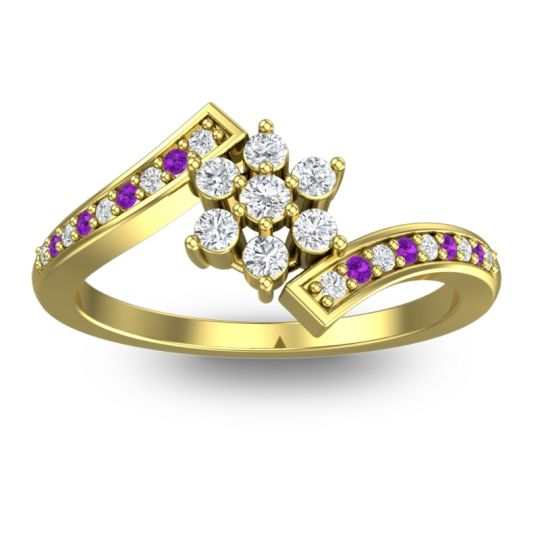Diamond Simple Floral Pave Utpala Ring with Amethyst in 18k Yellow Gold