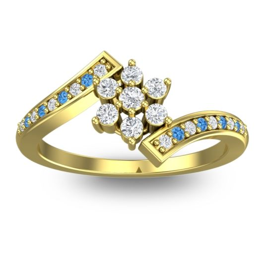 Diamond Simple Floral Pave Utpala Ring with Swiss Blue Topaz in 18k Yellow Gold