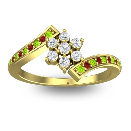 Simple Floral Pave Utpala Diamond Ring with Peridot and Garnet in 14k Yellow Gold