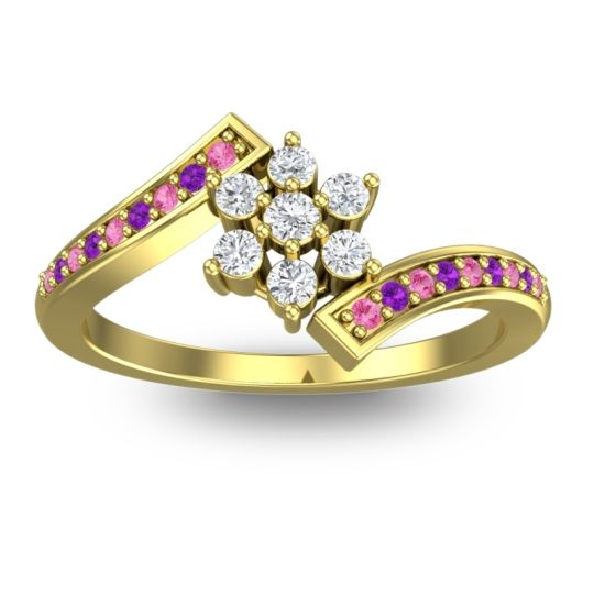 Diamond Simple Floral Pave Utpala Ring with Pink Tourmaline and Amethyst in 18k Yellow Gold