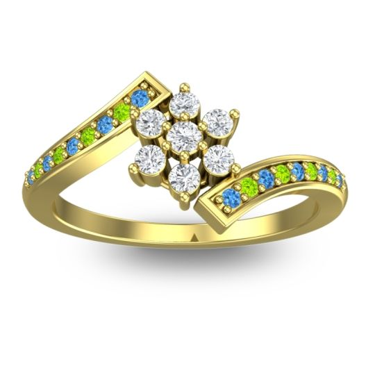 Diamond Simple Floral Pave Utpala Ring with Swiss Blue Topaz and Peridot in 14k Yellow Gold