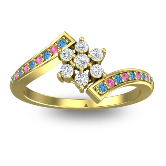Diamond Simple Floral Pave Utpala Ring with Swiss Blue Topaz and Pink Tourmaline in 14k Yellow Gold