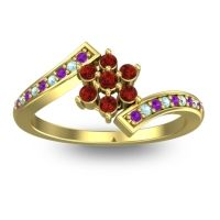 Simple Floral Pave Utpala Garnet Ring with Amethyst and Aquamarine in 14k Yellow Gold
