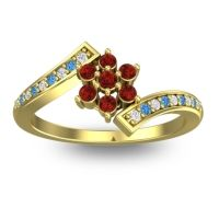 Simple Floral Pave Utpala Garnet Ring with Diamond and Swiss Blue Topaz in 14k Yellow Gold