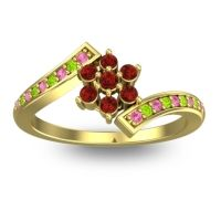 Simple Floral Pave Utpala Garnet Ring with Pink Tourmaline and Peridot in 14k Yellow Gold