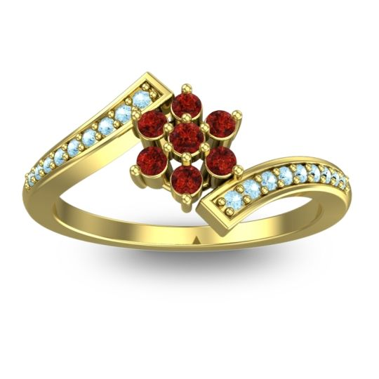 Garnet Simple Floral Pave Utpala Ring with Aquamarine in 14k Yellow Gold