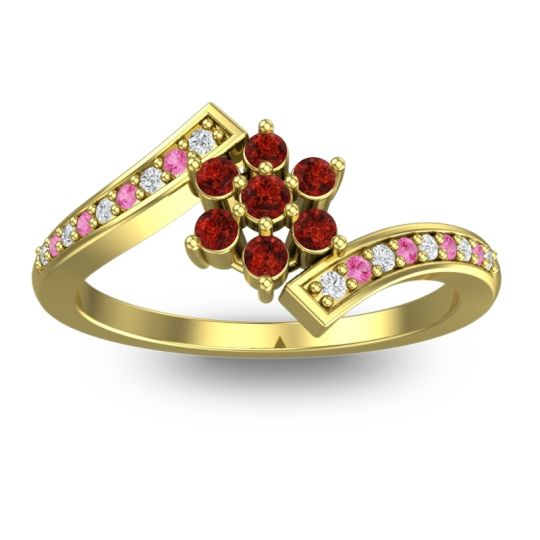 Garnet Simple Floral Pave Utpala Ring with Diamond and Pink Tourmaline in 14k Yellow Gold