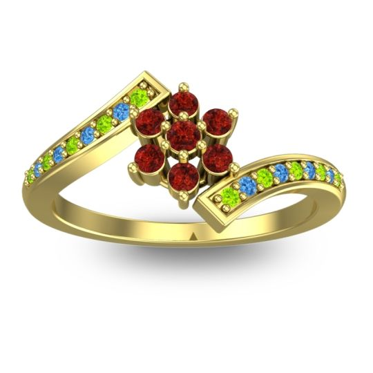 Simple Floral Pave Utpala Garnet Ring with Peridot and Swiss Blue Topaz in 14k Yellow Gold