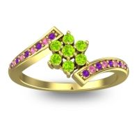 Simple Floral Pave Utpala Peridot Ring with Amethyst and Pink Tourmaline in 14k Yellow Gold