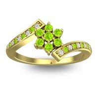 Simple Floral Pave Utpala Peridot Ring with Diamond in 18k Yellow Gold