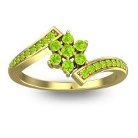 Simple Floral Pave Utpala Peridot Ring in 14k Yellow Gold