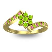 Simple Floral Pave Utpala Peridot Ring with Pink Tourmaline in 14k Yellow Gold