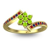 Simple Floral Pave Utpala Peridot Ring with Ruby and Blue Sapphire in 14k Yellow Gold