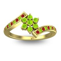 Simple Floral Pave Utpala Peridot Ring with Ruby in 18k Yellow Gold
