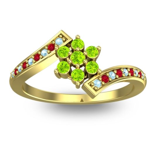 Peridot Simple Floral Pave Utpala Ring with Aquamarine and Ruby in 18k Yellow Gold