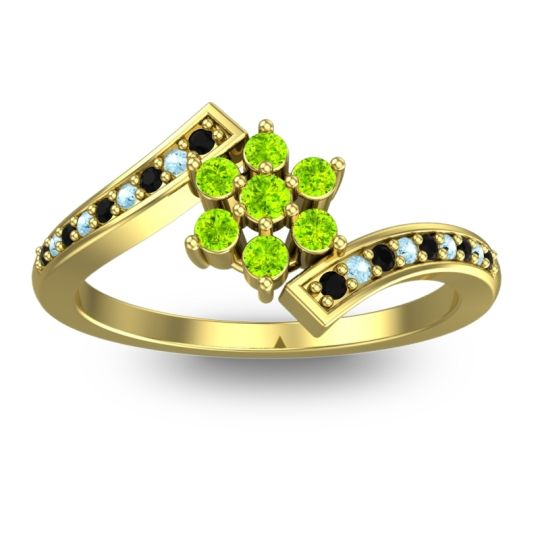 Simple Floral Pave Utpala Peridot Ring with Black Onyx and Aquamarine in 14k Yellow Gold