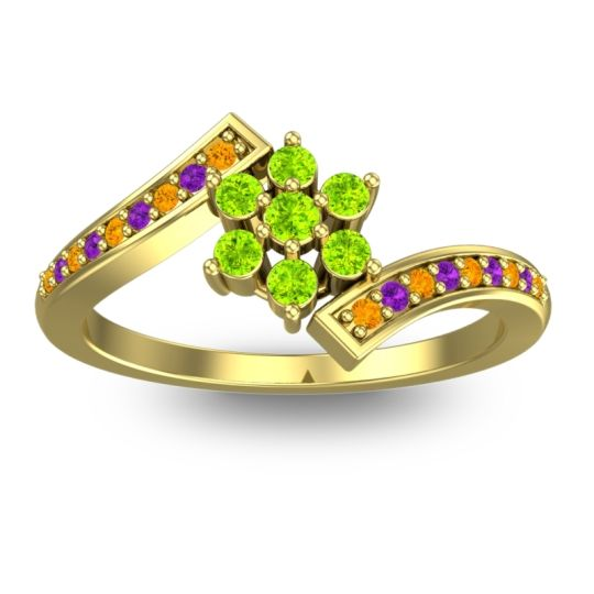 Peridot Simple Floral Pave Utpala Ring with Citrine and Amethyst in 14k Yellow Gold