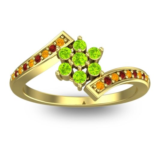 Simple Floral Pave Utpala Peridot Ring with Citrine and Garnet in 14k Yellow Gold