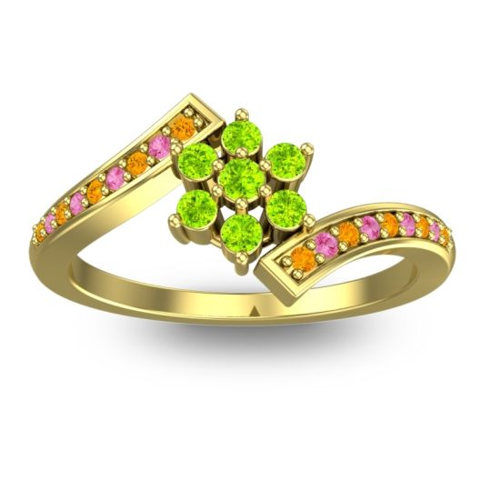 Peridot Simple Floral Pave Utpala Ring with Citrine and Pink Tourmaline in 14k Yellow Gold