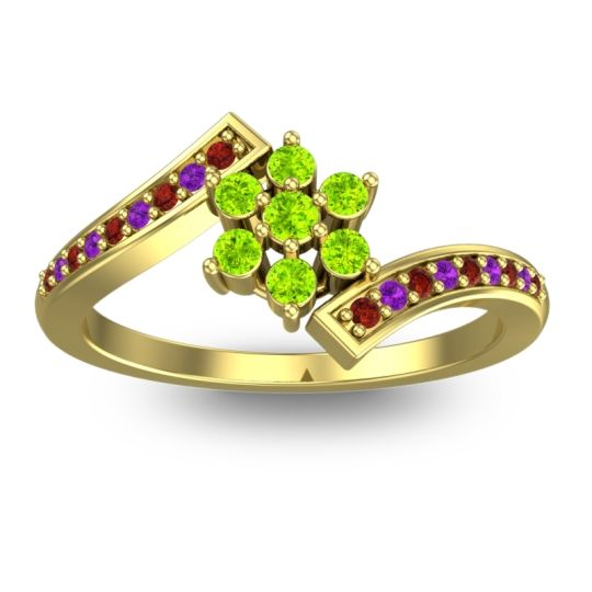 Peridot Simple Floral Pave Utpala Ring with Garnet and Amethyst in 18k Yellow Gold