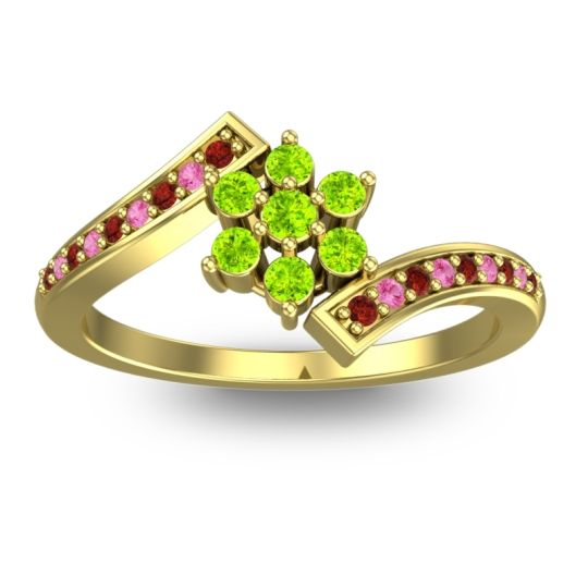 Peridot Simple Floral Pave Utpala Ring with Garnet and Pink Tourmaline in 14k Yellow Gold