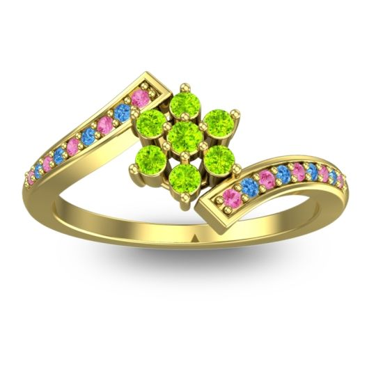 Peridot Simple Floral Pave Utpala Ring with Pink Tourmaline and Swiss Blue Topaz in 14k Yellow Gold