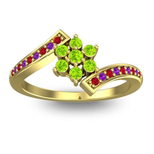 Peridot Simple Floral Pave Utpala Ring with Ruby and Amethyst in 14k Yellow Gold