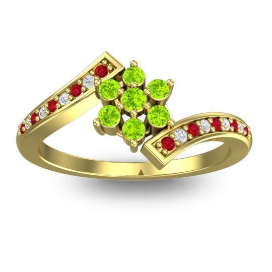 Peridot Simple Floral Pave Utpala Ring with Ruby and Diamond in 18k Yellow Gold