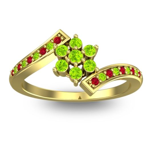 Peridot Simple Floral Pave Utpala Ring with Ruby in 14k Yellow Gold