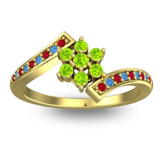 Peridot Simple Floral Pave Utpala Ring with Ruby and Swiss Blue Topaz in 18k Yellow Gold