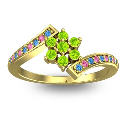Peridot Simple Floral Pave Utpala Ring with Swiss Blue Topaz and Pink Tourmaline in 14k Yellow Gold