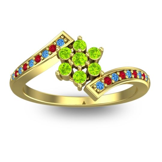 Peridot Simple Floral Pave Utpala Ring with Swiss Blue Topaz and Ruby in 18k Yellow Gold