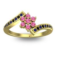 Simple Floral Pave Utpala Pink Tourmaline Ring with Blue Sapphire and Black Onyx in 14k Yellow Gold