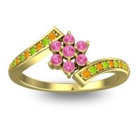 Simple Floral Pave Utpala Pink Tourmaline Ring with Citrine and Peridot in 18k Yellow Gold