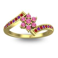 Simple Floral Pave Utpala Pink Tourmaline Ring with Ruby and Amethyst in 14k Yellow Gold