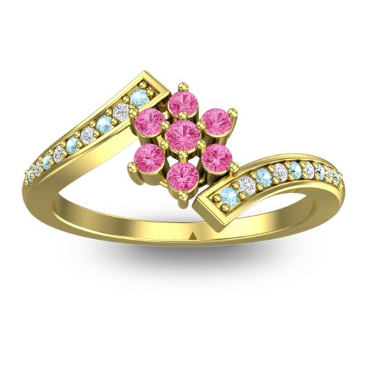 Pink Tourmaline Simple Floral Pave Utpala Ring with Aquamarine and Diamond in 14k Yellow Gold